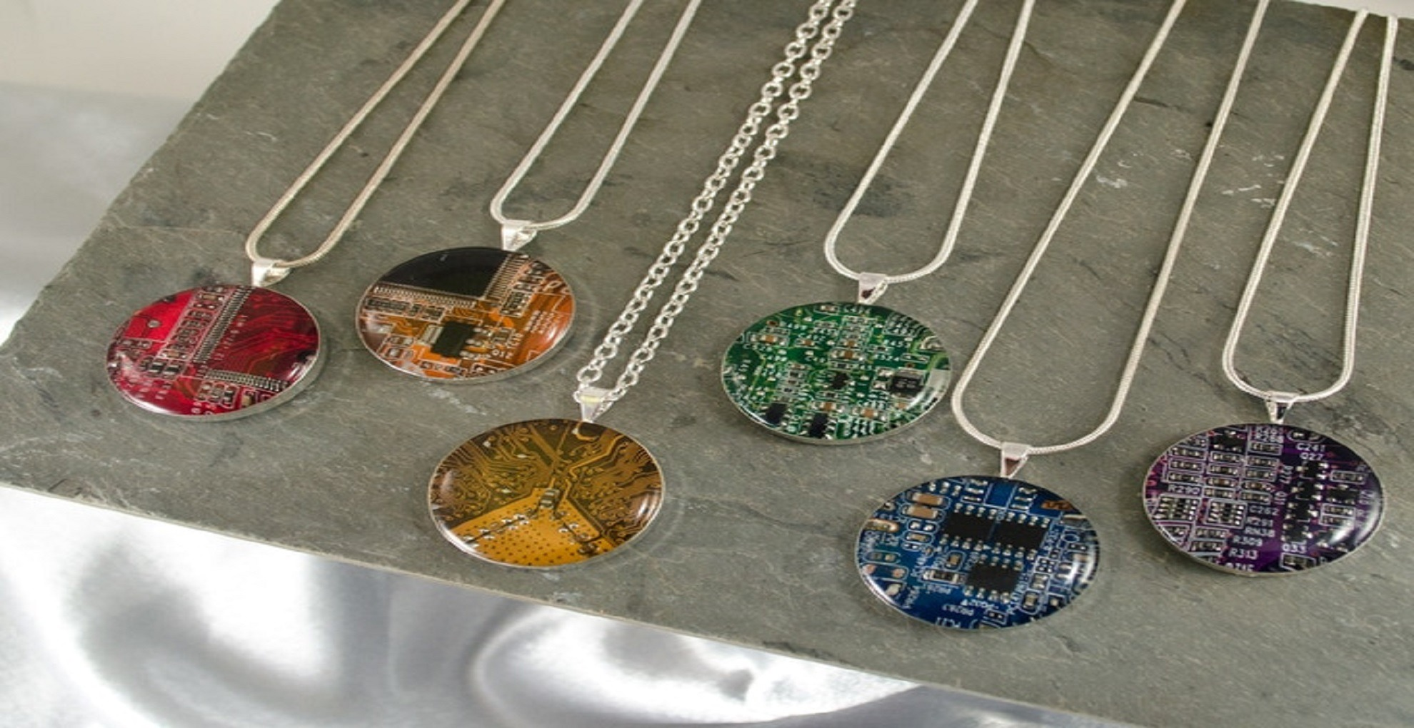 Printed Circuit Boards Upcycled as Beautiful Jewelry
