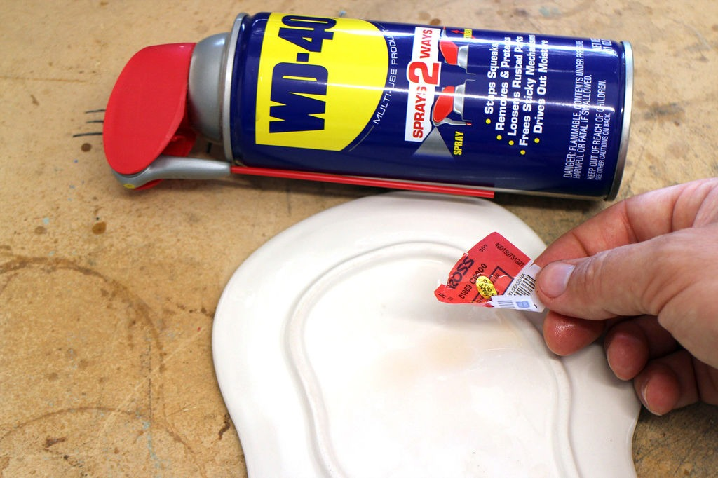 Using WD-40 to remove stickers