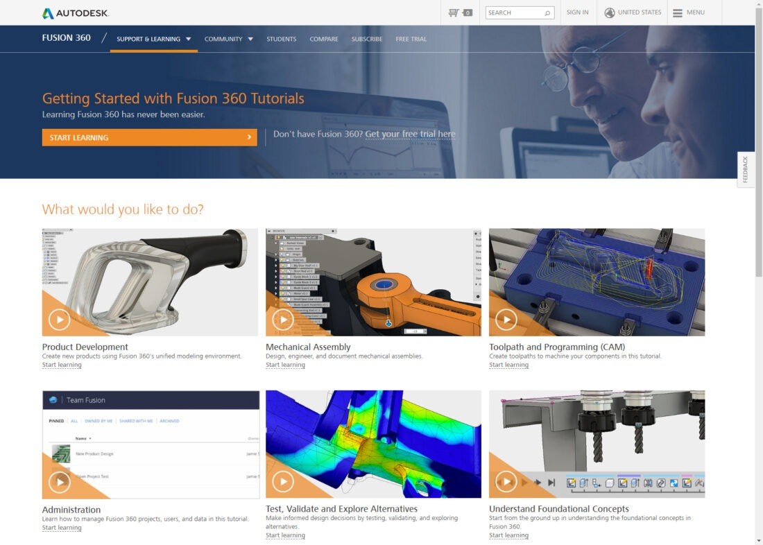 Getting Started with Fusion 360 Tutorials and Videos page.