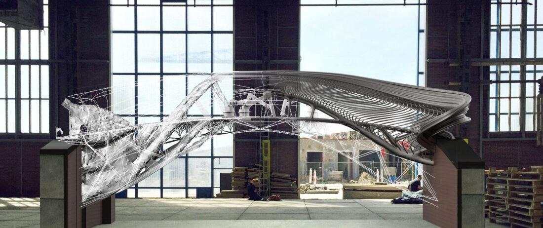 Previous design iteration of the MX3D Bridge
