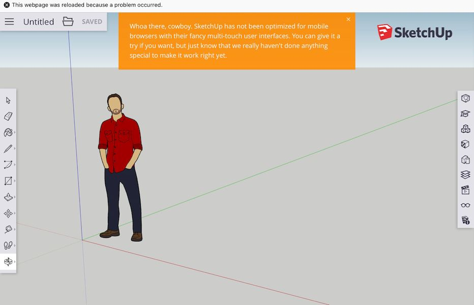 The warning you receive if you try using SketchUp Free on a mobile device