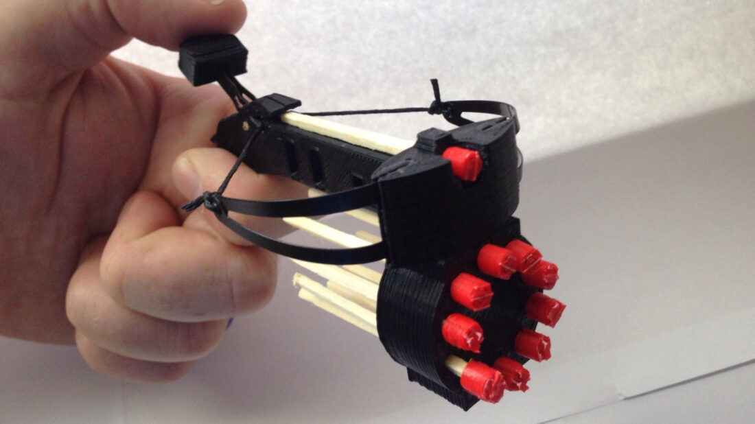 This 3D Printed Mini-Crossbow Will Have You Shooting Matchsticks Like a Pro