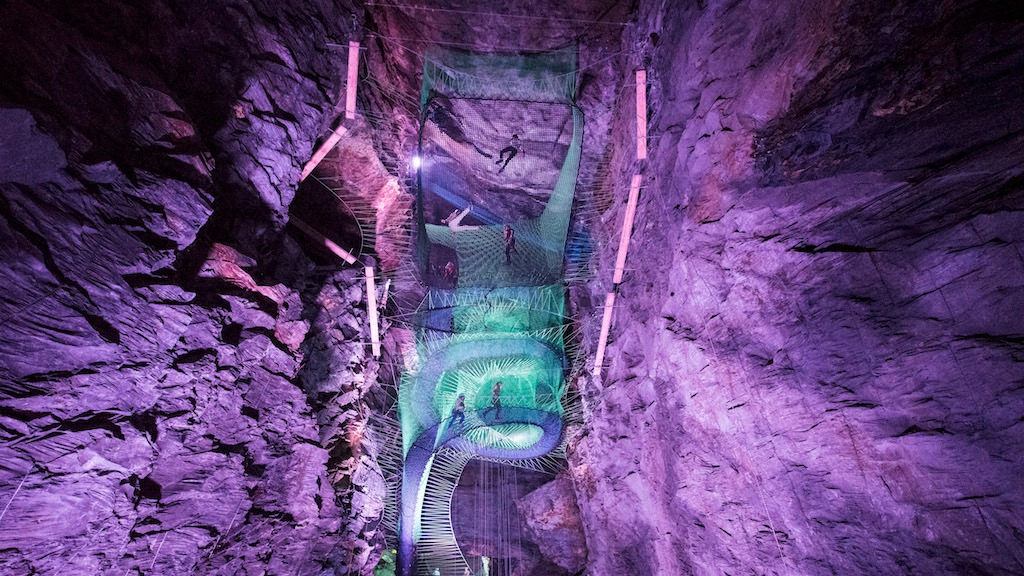 This Abandoned Mine Was Converted into an Insane Multi-Layered Trampoline Park