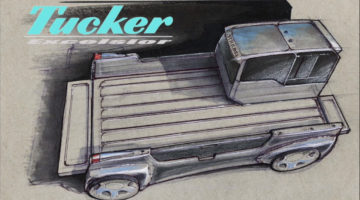Here's A Modern Tucker Truck Concept Sketched on Colored Paper [Design Sketching]
