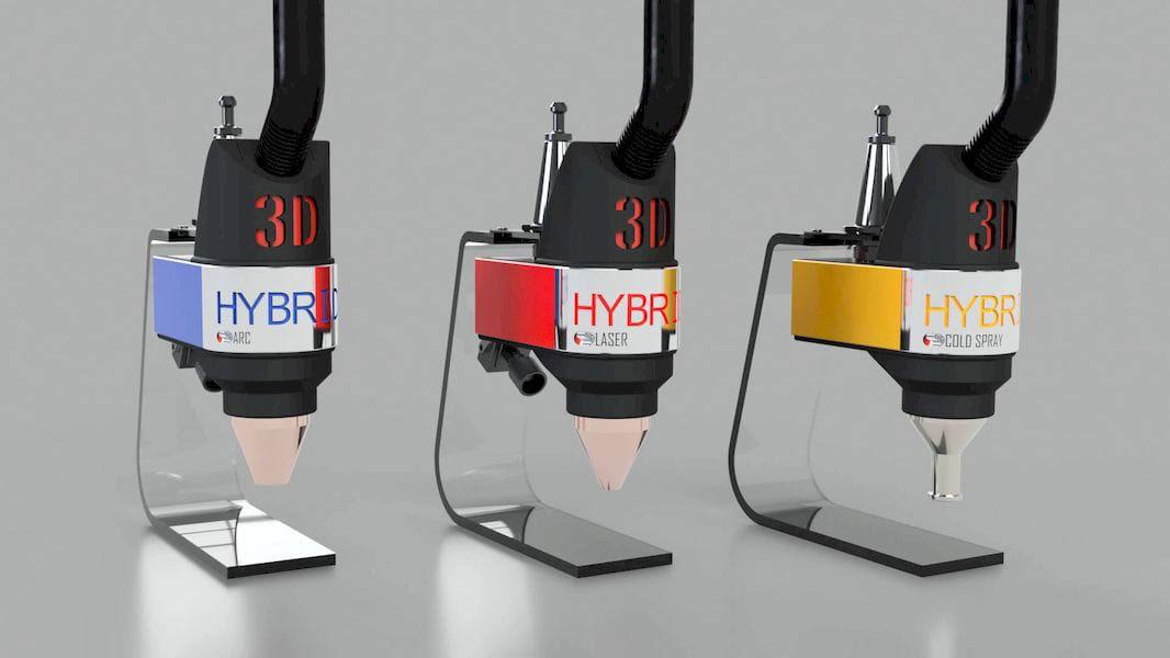 3D Hybrid Solutions' three 3D metal printing toolheads