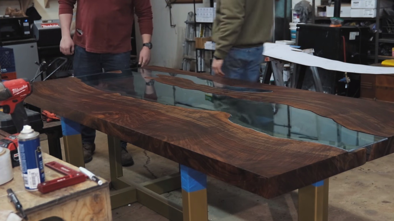 walnut glass river table
