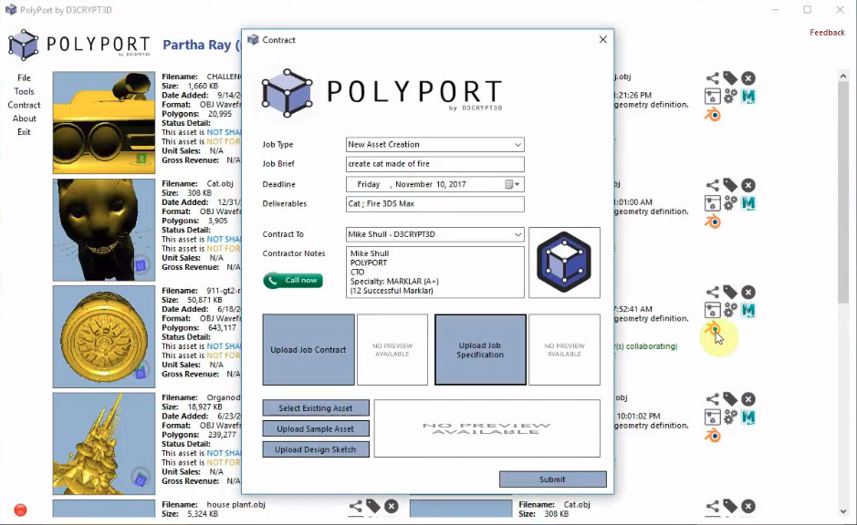 Contract Management for Outsourceing Work in Polyport.
