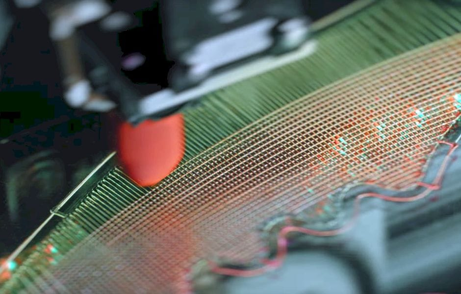 Extruding Nike Flyprint material