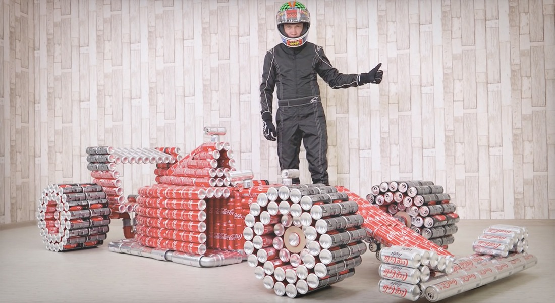 This F1 Race Car Replica is Made Entirely Out of Coke Cans