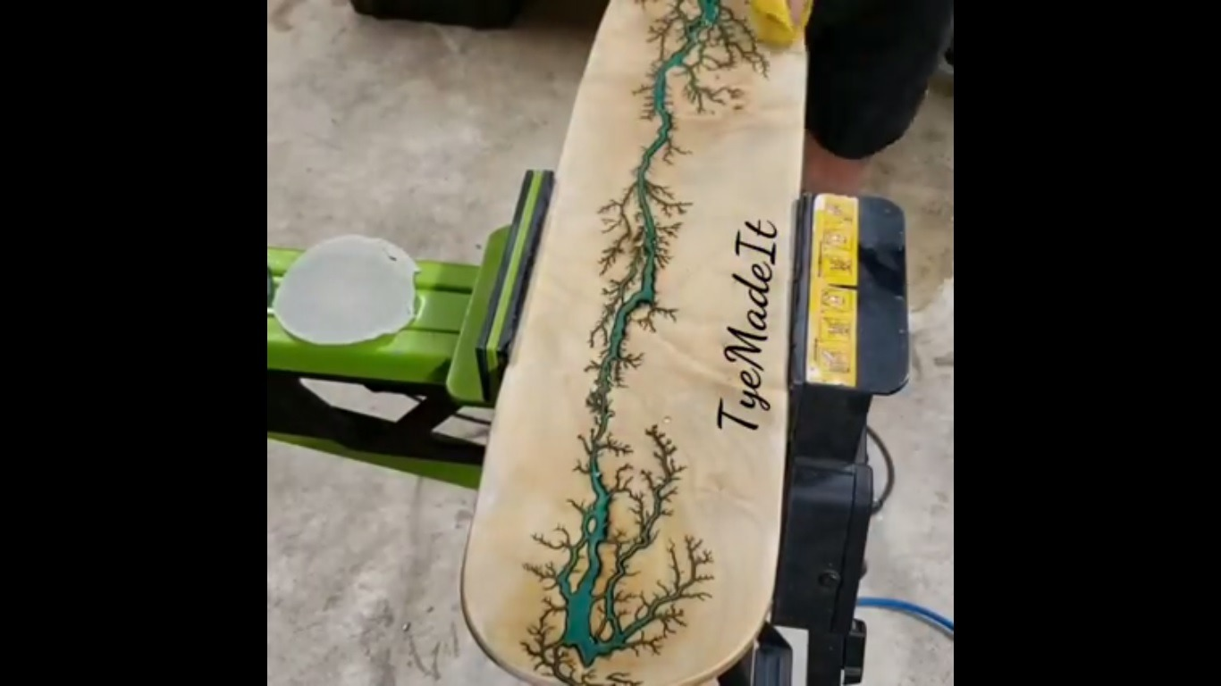 Woodburning skateboard