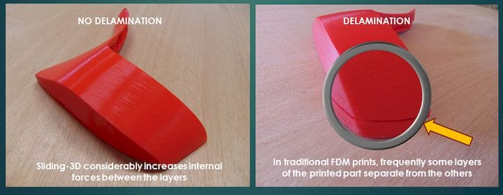 Delamination effects of angled 3D printing [Source: Robotfactory]