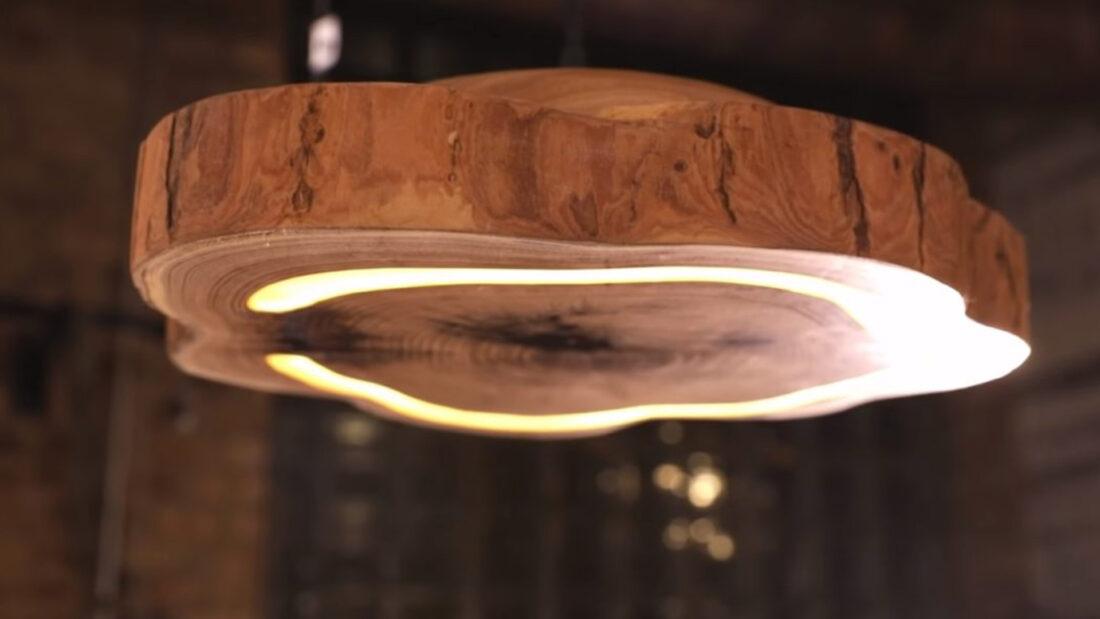 Hand Carved Wood Light