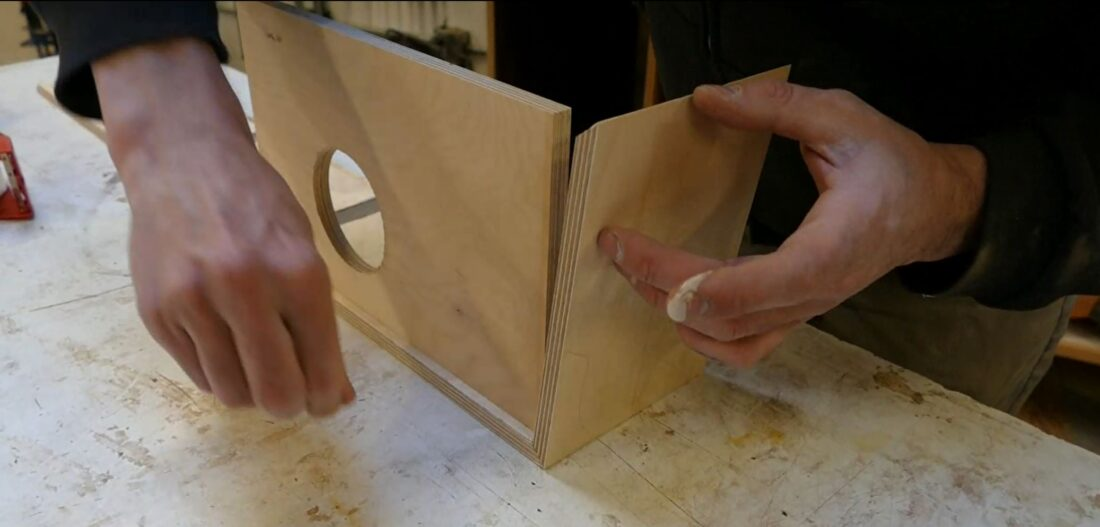 Fitting the glued-up puzzle pieces of the housing together...
