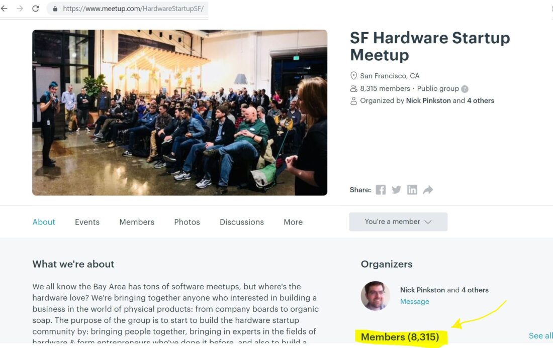 View of the MeetUp.com page of the SF Hardware Startup Meetup showing 8,315 current members
