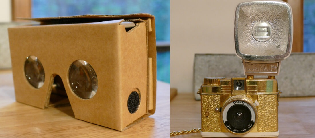 Examples of devices with imaging optics: Google Cardboard and an old-timey camera.