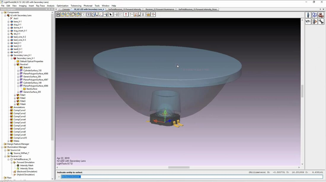 Setting up a simulation in LightTools: here, in the Land of Make Believe, we have a virtual lens sitting on top of a pretend LED.