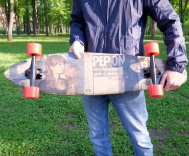 newspaper skateboard