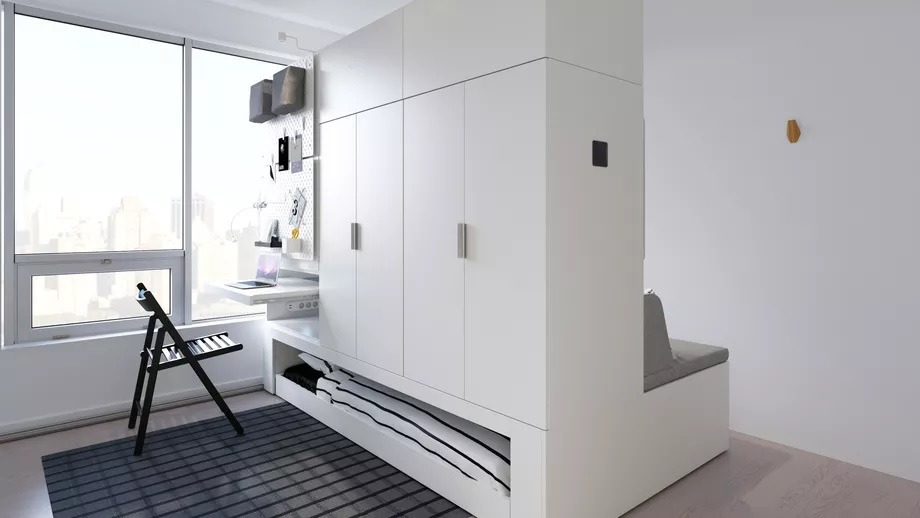 Rognan Is An Upcoming Collaboration Between Ikea And American Furniture Startup Ori Living Which Makes Full Use Of A Tiny Room S Dimensions