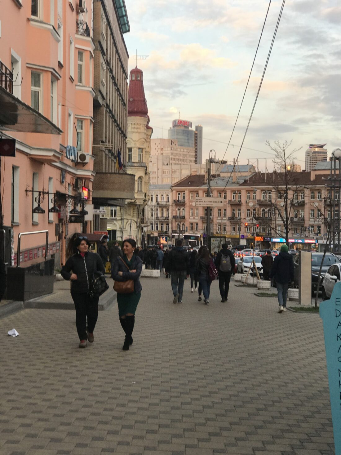 Twilight falling on this pretty block in Kiev not far from where protesters gathered.