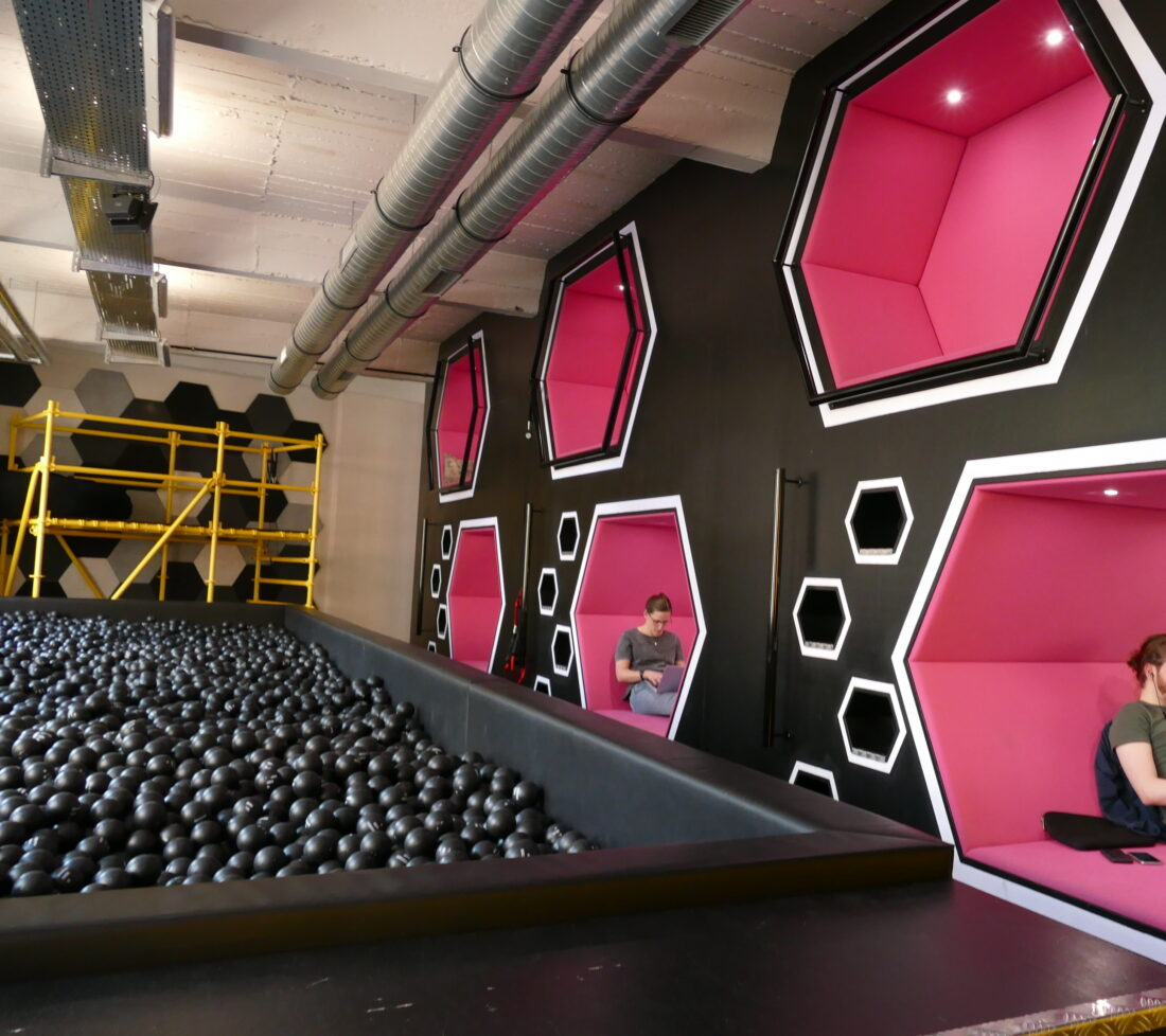 Ball crawl and comfy honeycomb work or escape area at Factory Berlin.