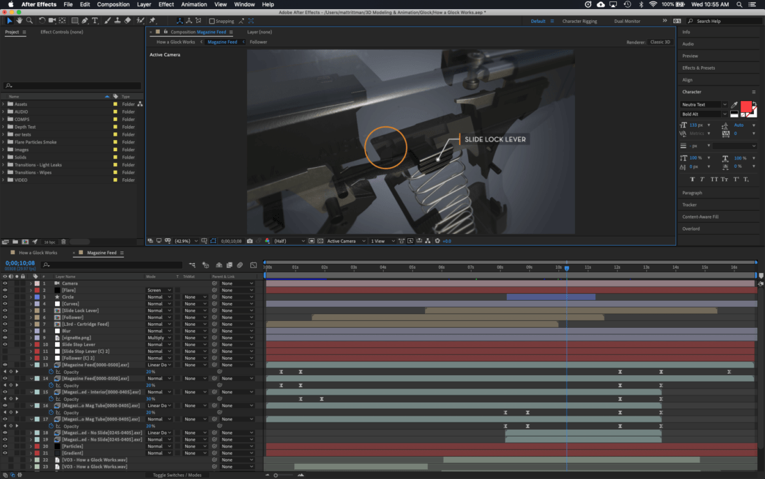 glock 3d animation