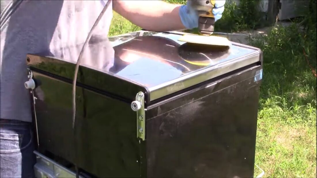 sanding and polishing mini fridge