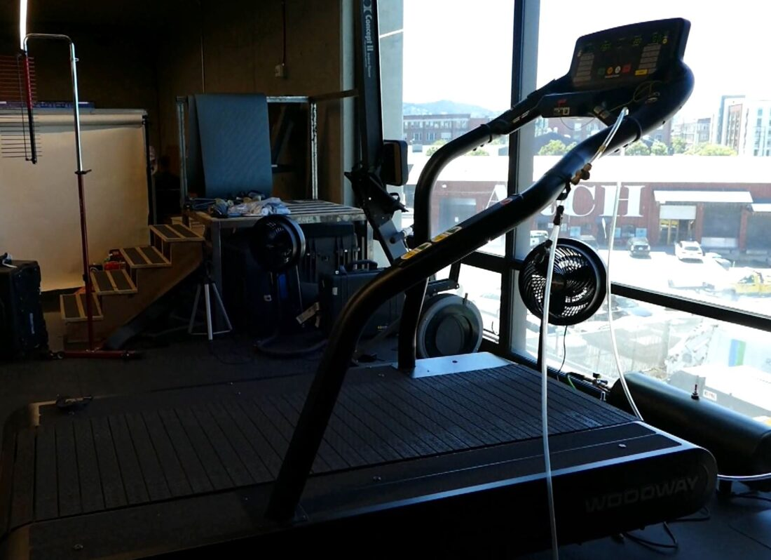 This Woodward monster is the biggest treadmill I've ever seen in person. Ashley Swartz tells us it's typically used in hospitals for rehab or in training labs.