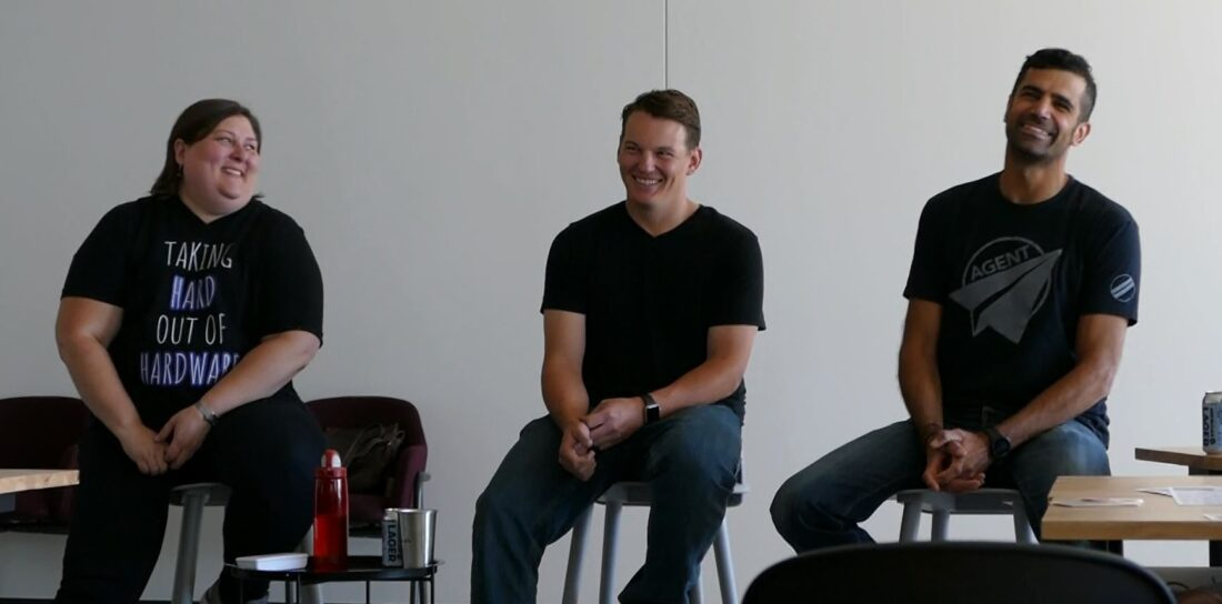 "For the ""How 'DIY' Can F*&^ Up Your Product"" panel, we had (from left to right):  Jenney Loper of Zebulon Solutions, Schuyler Livingston of Link Product Development, and Dave Eyvazzadeh of VOZ Patents."