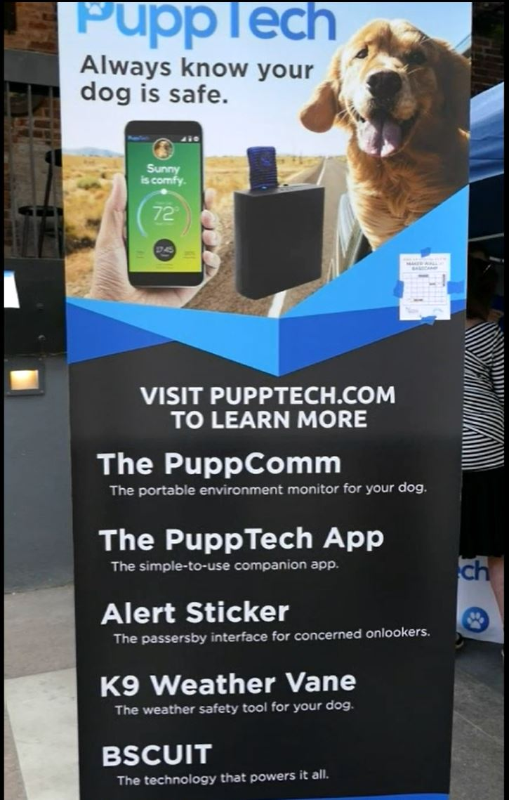 PuppTech sells a cellular device that monitors the environment inside your car to keep your puppy safe. Dog not included.