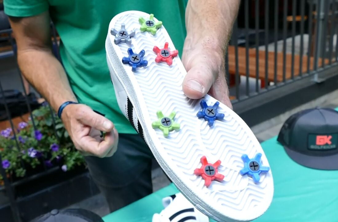 GolfKicks makes screw-in golf cleats so you can turn your favorite shoes into golf shoes.