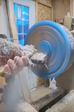 Watch a Cherry Burl and Resin Bowl  Get Turned on a Lathe