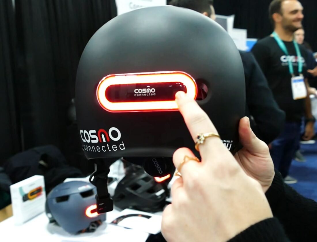 Cosmo Connected's helmet gives cyclists hazard lights among many other things.