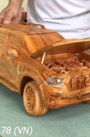 A Toyota Land Cruiser Prado Carved From a Single Chunk of Wood