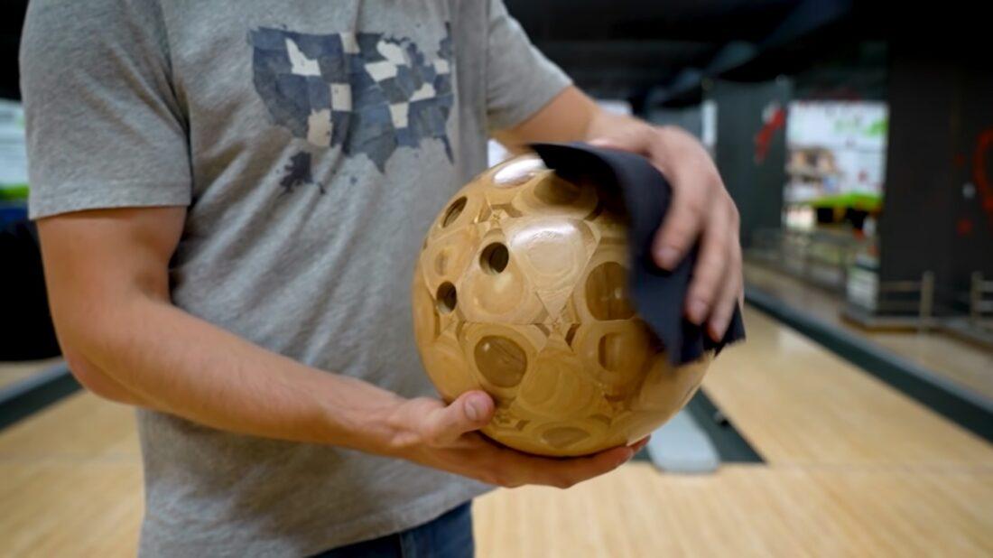 wooden bowling ball